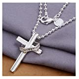 NYKKOLA Jewellery Beautiful Fashion 925 Silver Cross Pendant Bead Chain Necklace Gift