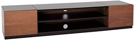 69 in. TV Stand in Walnut and Black