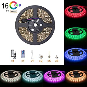 LED Light Strip Kit RGB LED Strip Waterproof SMD 5050 RGB 16.4Ft/5M 300 LEDs with 44Key Remote Controller and Power Supply for Holiday Party Home Gard