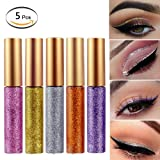 Liquid Eyeshadow Glitter Eyeliner 5 Colors Highlighter Brighten Concealer Face Eye Cosmetic Glow Shimmer Makeup Glitter Brighten Pigments Makeup Cover Perfection Tip Concealer for women (5 Pcs A) (Color: 5 Pcs A)
