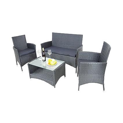 Lounge Set 7tlg Brasil PE-Rattan Tisch anthrazit Gartenmöbel Sitzgruppe Sessel