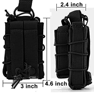 HOANAN Double Mag Pouch, Tactical Molle Magazine Pouch Open-Top Single Rifle Pistol Mag Pouch Cartridge Clip Pouch Hunting Bag (3pack-Upgrade Black) (Color: 3pack-Upgrade black)