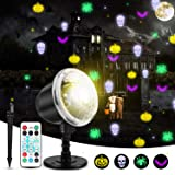 Halloween Projector Lights, KINGWILL Indoor Outdoor Holiday Lights with Remote Control 4Pcs Pattern Light Bead for Halloween Home Party Garden Landscape Wall Decorations (Color: Halloween)