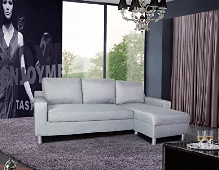 US Pride Furniture Kachy Fabric Convertible Sleeper Sectional Sofa Bed & Facing-Right Chaise, Gray