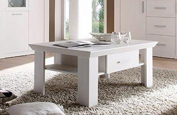 Dreams4Home Couchtisch 'Ruma' - Tisch, Sofatisch, Ablagetisch, Holztisch, Beistelltisch, Wohnzimmer, Fernsehzimmer, modern, B/H/T: 100 x 60 x 44 cm, in Pinie weiß, Holznachbildung