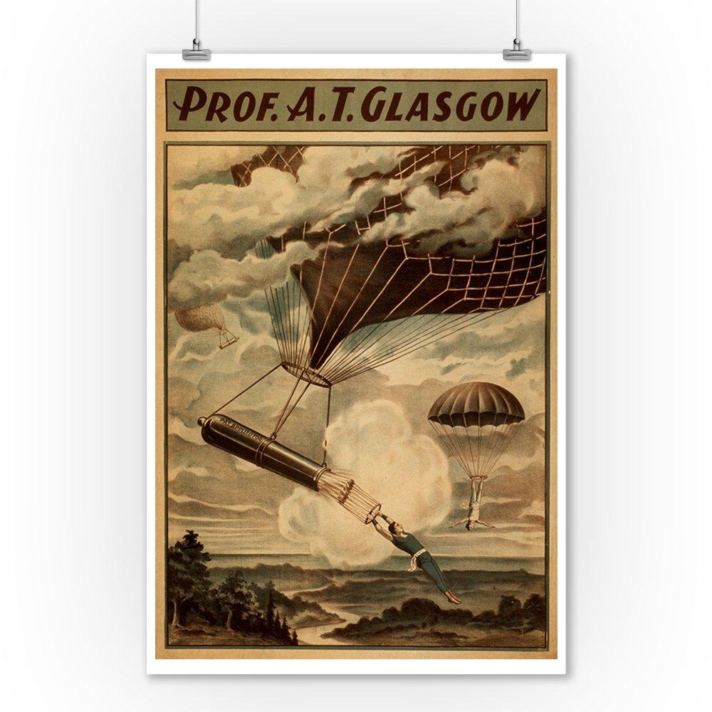 Glasgow Hot Air Balloon Circus Theatre Poster (9x12 Art Print, Wall Decor Travel Poster) 1