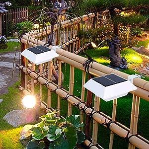 [Upgrade PIR Sensor] MEIHONG 1 Pack Solar Motion Sensor Security Light, Solar Powered Fence Gutter Light, Super Bright 4 LED Solar Light,Night Light,