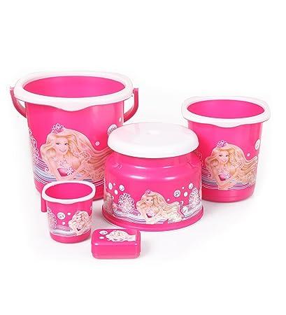 Cello Barbie 5 Piece Plastic Bathroom Set, Pink