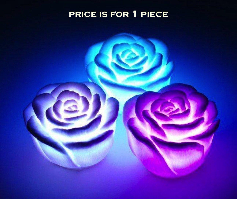Buy led night lamp online india - Premium Led Rose 7 Colour Changing Flower Night Light Lamp Battery Powered