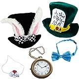 Tigerdoe Rabbit Costume - 5 Pc Set - White Rabbit Costume - Mad Hatter Costume - Bunny Costume (Color: Rabbit Hat, Rabbit Nose, Rabbit Clock, Mad Hatter Hat & Bow Tie, Tamaño: one size)