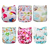 LBB Baby Reusable Cloth Diapers with adjustable snaps fit Girls/Boys,6pcs Pack,Heart (Color: Heart, Tamaño: One Size)