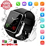 Smart Watch,Bluetooth Smartwatch Touch Screen Wrist Watch with Camera/SIM Card,Waterproof Phone Smart Watch Sports Fitness Tracker for Android iPhone IOS Phones Samsung Huawei Sony for Kids Women Men (Color: Watch-x6-black)