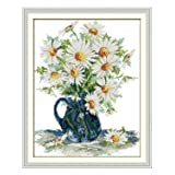 eGoodn Stamped Cross Stitch Kits with Printed Pattern Flower - Daisy Vase, 15 inches by 18.1 inches 11ct Aida Fabric for Embroidery Art Cross-Stitching Lovers (Color: Daisy Vase)