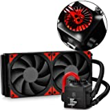 DEEPCOOL Captain 240EX AIO Liquid CPU Cooler, 240mm Radiator, Dual 120mm Black PWM Fans, AM4 Compatible, 3-Year Warranty (Color: 2x120mm black fans,red LED waterblock, Tamaño: 240mm)