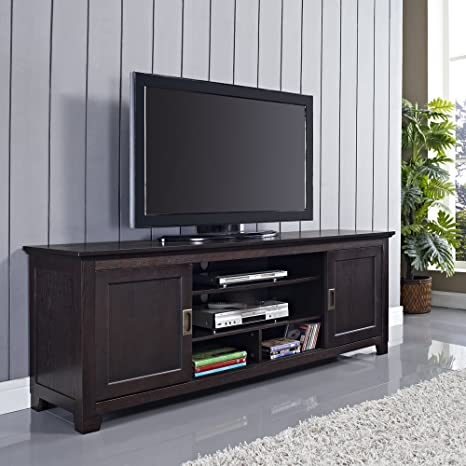"""70"""" Wood TV Stand with Sliding Doors in a Beautiful Espresso Brown Finish"""