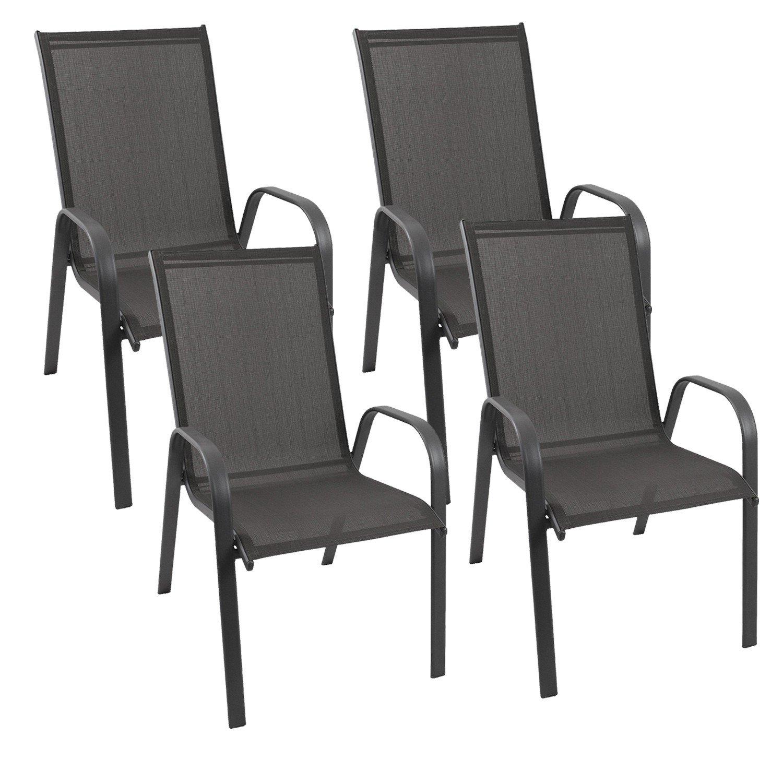 4 Stück Gartenstuhl stapelbar Gartensessel Stapelstuhl Stapelsessel Stahlgestell pulverbeschichtet mit 2×1 Textilenbespannung Gartenmöbel Terrassenmöbel Balkonmöbel online bestellen