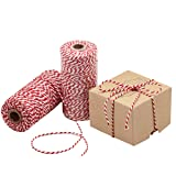 Natural Cotton Bakers Twine Red & White 100M (328 Feet), Packing String, Durable Rope for Gardening, Decoration, Tying Cake and Pastry Boxes, DIY Crafts & Gift Wrapping, for Art and Craft (Tamaño: 328 Feet (100M))