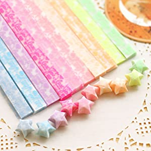 Origami Stars Papers Package DIY Paper, 600 Sheets - 20 Colors (Glows in The Dark) (Color: 20 Colors, Tamaño: 1*25cm)