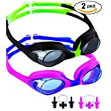 SBORTI Kids Swim Goggles Pack of 2 Waterproof Swimming Goggles for Children Early Teens Swim Goggles Glasses (Age 3-12) Clear Vision Anti Fog UV Protection