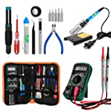 eletecpro Soldering Iron Kit Electronics,60w 110V Adjustable Temperature Welding Tool with ON/Off Switch, Digital Multimeter,5pcs Soldering Iron Tips, Soldering Iron Stand, Desoldering Pump, PU Bag (Color: As Shown)