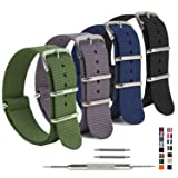 4 Pack Nylon Watch Bands,OWNITOW Ballistic NATO Watch Straps - Choices of Colors & Widths 16mm 18mm 20mm 22mm 24mm (Color: Black/Navy/Grey/Army Green, Tamaño: 16mm)