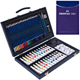 56 Piece Professional Art Set Deluxe Art Set in Portable Wooden Case-Painting & Drawing Set Professional Art Kit with 1 Drawing Pad for Kids, Teens and Adults/Gift … (Color: 56PCS)
