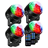Nequare Party Lights Sound Activated Disco Ball Strobe Light 7 Lighting Color Disco Lights with Remote Control for Bar Club Party DJ Karaoke Wedding Show and Outdoor (4 PACKS) (Color: 4 Packs, Tamaño: 4 PACK)