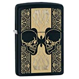 Zippo Skulls Pattern Pocket Lighter, black Matte