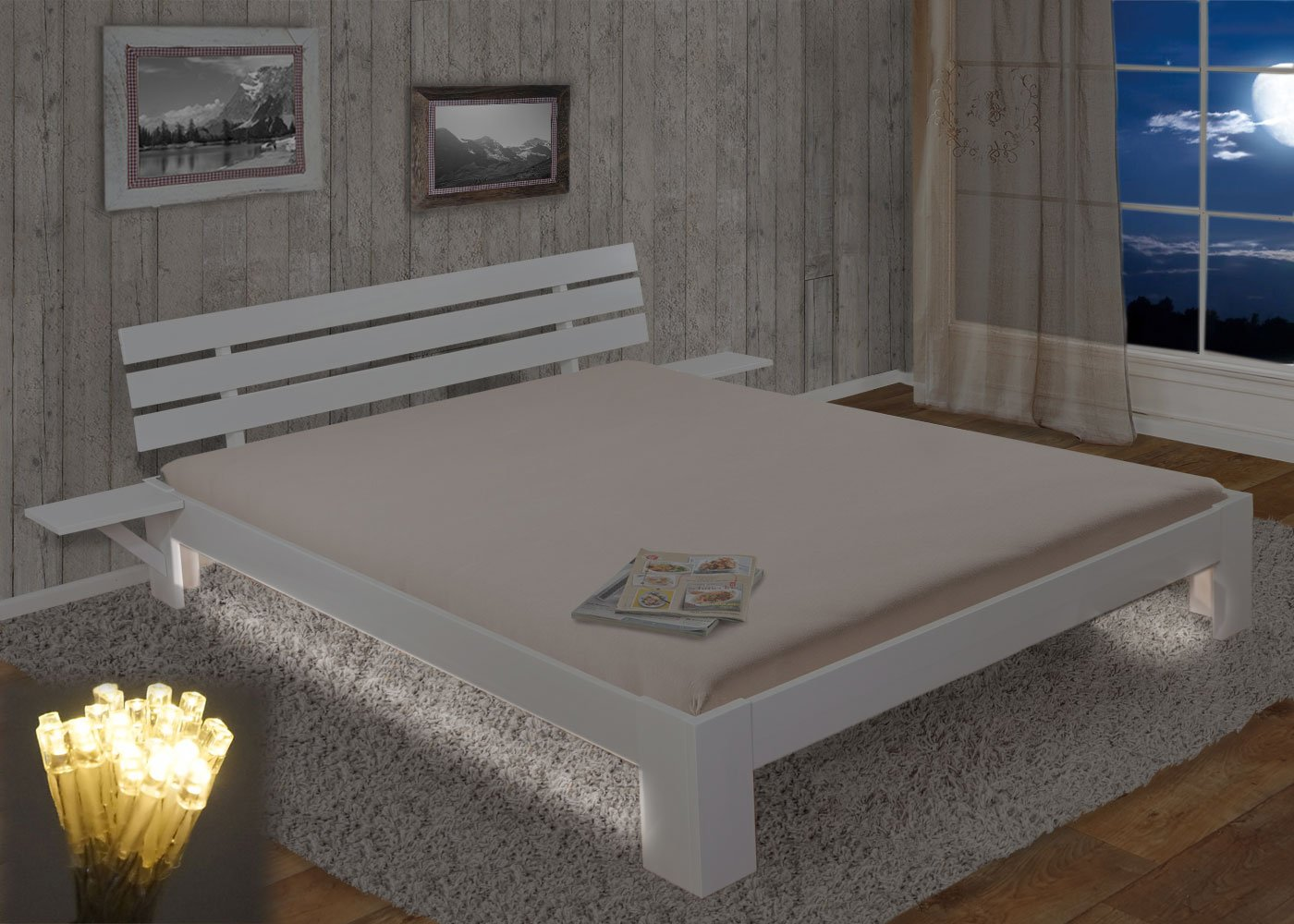 Bett Perth, Doppelbett, Massivholz incl. Lattenrost Ablage Kiefer ~ 180x200cm, weiß lackiert, LED