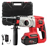 20V 1inch SDS-plus Cordless Rotary Hammer Drill, AUTOJARE Brushless Rotary Hammer Drill Kits Includes 3.0Ah Lithium Battery & Charger