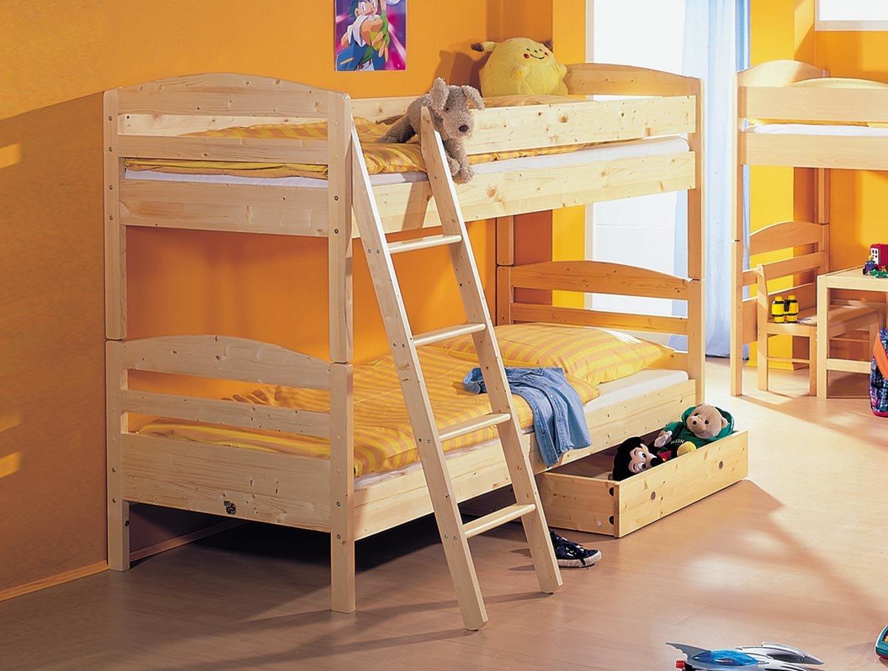 TAUBE Kinderbett Etagenbett jens mit Anschraub-Treppe (Ausführung: Ast-Fichte-Vollholz, Liegefläche (B x L): 90 x 190 cm) günstig kaufen