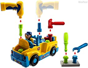 WolVol Truck Tools Toy Equipped with Electric Drill and Various Tools Lights and Music Bump and Go A