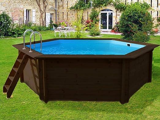 Interline 50700205 pool bali holzwand 6 eckig durchmesser for Gartenpool 300 cm