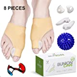 Bunion Corrector and Bunion Relief, Bunion Splint Socks Pads for Hallux Valgus, Big Toe Joint, Hammer Toe, Toe Separators Straighteners Spacers with Foot Massage Ball for Women and Men, 8 Pieces (Color: Beige)