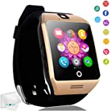 Touch Screen Smart Watch Bluetooth Wrist Watch Pedometer Fitness Tracker Smartwatch Sleep Monitor Compatible Android Cell Phones Samsung Galaxy S8 S9 S10 J8 J7 J6 Huawei Lg ZTE Men Women Boys Gold (Color: Gold)