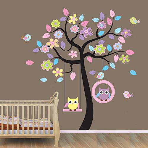 WallStickersUSA Wall Sticker Decal Beautiful Tree with Hanging Owls Pink Flowers X-Large