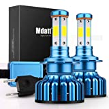 Mdatt H7 LED Headlight Bulbs 100W 12000LM Headlamp Conversion Kit - DOT Approved - 360 Degree - IP68 Waterpoorf (Tamaño: H7(Headlight/Foglight-V18L))