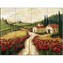Red Poppy Road by Joanne Margosian - Kitchen Backsplash / Bathroom wall Tile Mural