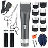 WARMLIFE Cord/Cordless Hair Clippers Electric Hair Trimmers for Men Kids and Babies with Scissors Combs Rotary Motor Quiet Home Barber Fade Clipper Self Hair Cutting Haircut Grooming Kit (Color: Gray, Tamaño: 1.5 x 1.57 x7 in)