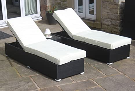 All Weather Black Rattan 3 Piece Ocean Lounger Set