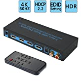 4K@60Hz HDMI Switch 3x1 with Optical SPDIF & RCA L/R Audio Out, FiveHome 3 In 1 Out HDMI Audio Extractor Splitter with Remote, Supports ARC, 4Kx2K, Ultra HD (Color: 4K@60Hz, Tamaño: 4K@60Hz HDMI Switch Audio Extractor)