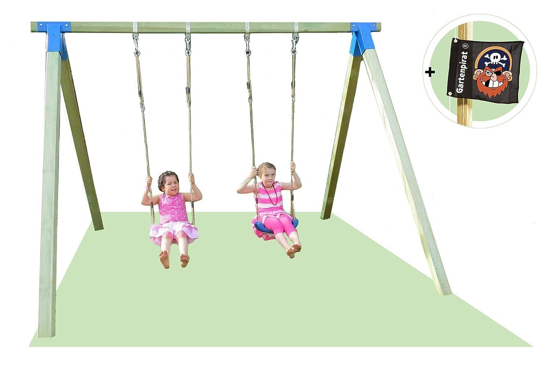 Doppelschaukel Basic Premium 1.2 Schaukel aus Holz 9×9 von Gartenpirat® günstig online kaufen
