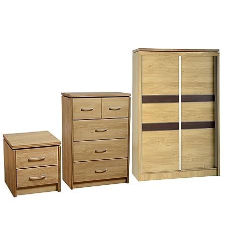 Charles 2 Door Sliding Wardrobe, 5 Drawer Chest and Bedside Set - Oak Veneer