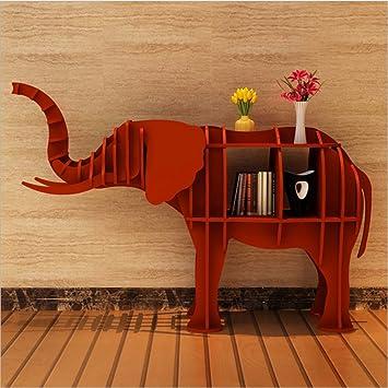 WSZYD Creativa estantería estantería elefante animal de forma adornos ventana Art Deco tienda del hotel piso 124 * 36 * 84cm ( Color : Rojo )