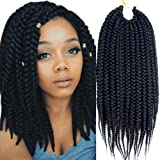 VRHOT 6Packs 12'' Box Braids Crochet Hair Pre Looped Crochet Braids 3S Soft Synthetic Hair Extensions Hairstyles Kanekalon Braiding Hair Style Dreadlocks for Black Women 12 inch (12 inch, 1B#) (Color: 1B#, Tamaño: 12 inch)