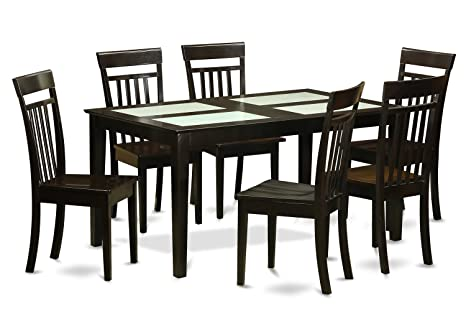 East West Furniture CAP7G-CAP-W 7-Piece Dining Table Set