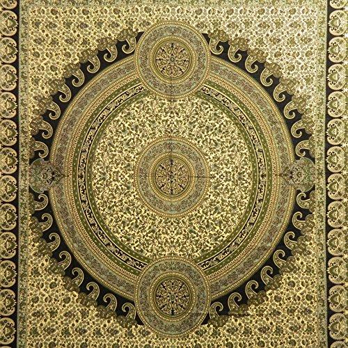 Tagesdecke paisley gr n schwarz beige 230 x 210 cm for Tagesdecke paisley