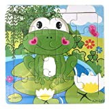 Gbell Cute Wooden Animals & Vehicles Jigsaw Puzzle Set,14.8×14.8×0.5CM Colorful Jigsaw Board Educational Toy Gift for 3-8 Year Old Girls Boys Kids (K)