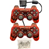 Saloke Wired Gaming Controller for Ps2 Double Shock (ClearRed and ClearRed) (Color: ClearRed and ClearRed)