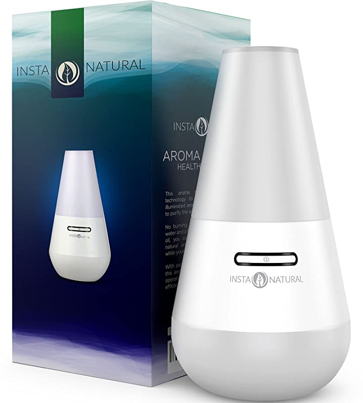 InstaNatural Essential Oil Diffuser for Aromatherapy - Ultrasonic Mist Humidifier and Ionizer for Any Living Space - With Soft Blue Colored LED Light & Waterless Automatic Shut-off - 100 ML via Amazon
